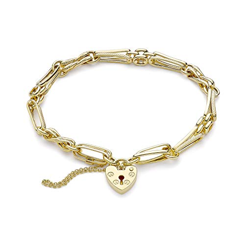 Carissima Gold Women's 9ct Yellow Gold 6.3mm 2-Bar Link and Panther Chain Padlock Bracelet 19cm/7.5'