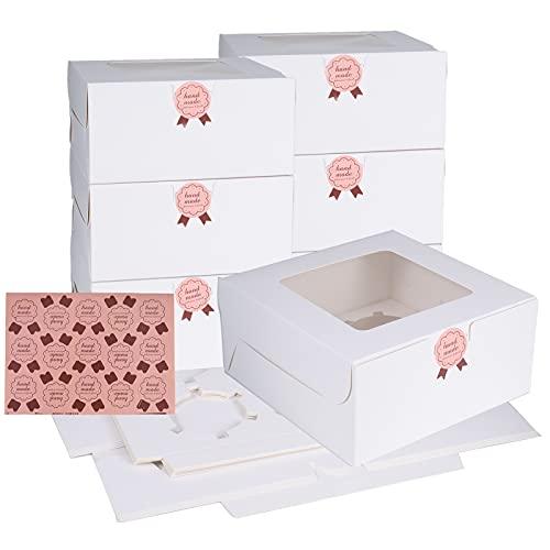 Fingertoys 10er Pack 4-Loch-Cupcake-Box mit Sichtfenster, weiße Cupcake-Hülle Muffin-Törtchen Aufbewahrung mit Aufklebern für Dessert, Gebäck, Kuchen, Muffin, Donut, Macaron