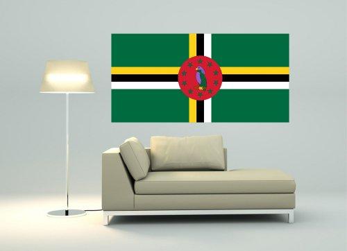 Kiwistar Wandtattoo Sticker Fahne Flagge Aufkleber Dominica 80 x 40cm