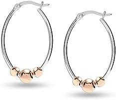 HIKARO Sterling Silver Jewelry Two-Tone Bead Hoop Earrings for Teen Women