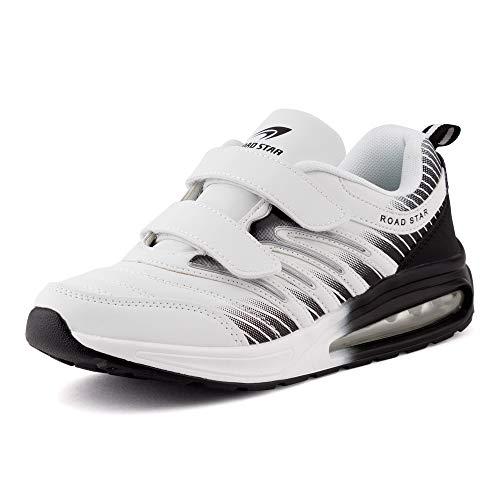 Fusskleidung Damen Herren Sportschuhe Klettverschluss Sneaker Dämpfung Neon Laufschuhe Runners Gym Unisex Weiß Schwarz EU 36