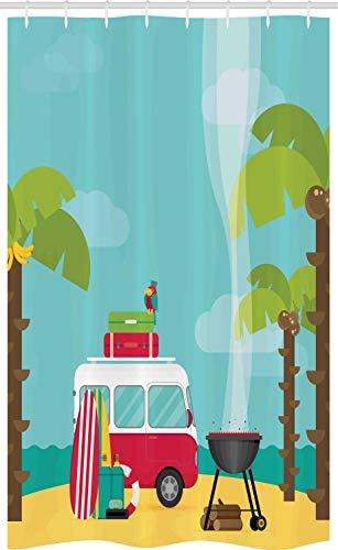 ABAKUHAUS Erkunden Schmaler Duschvorhang, Wohnwagen Camping Strand, Badezimmer Deko Set aus Stoff mit Haken, 120 x 180 cm, Mehrfarbig