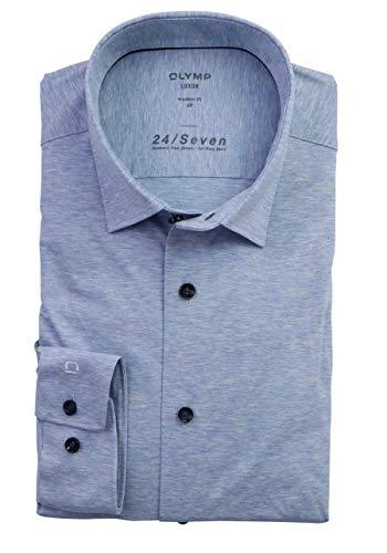 OLYMP Luxor modern fit Hemd Langarm Jersey Stretch hellblau Größe 43