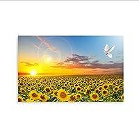 ひまわりポスターHdプリント寝室装飾壁絵北欧日の出風景キャンバスアート絵画保育園ベビールーム60×80センチ(枠なし)