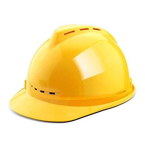 ANHPI Casco con Ventilador Ligero Ventilador Transpirable Sudadera Casco De Seguridad para El Trabajador Equipo De Seguridad Laboral,Yellow(v)-L28.5cm*W22cm*H17cm