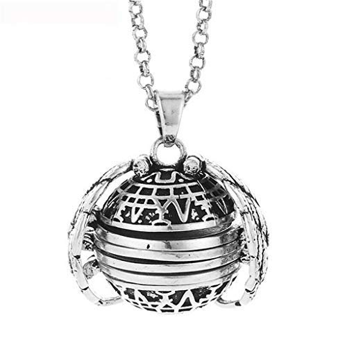 jieGREAT  2PCS Women Necklace Expanding 5 Photo Locket Necklace Silver Ball Angel Wing Pendant Memorial Gifts