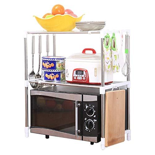 Tokyia Los estantes de la cocina estante de la cocina montado en la pared del horno microondas perchero de pie multifunción múltiples capas de almacenamiento Horno Utensilios de cocina condimento (Col
