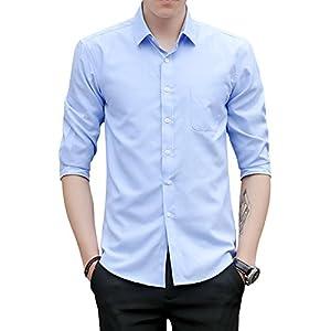 YFFUSHI yシャツ メンズ ワイシャツ 七分袖 無地 綿 薄手 全4柄 S-3XL 白 スリム カジュアル お洒落 カジュアル