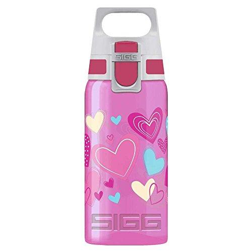 SIGG VIVA ONE Hearts Kinder Trinkflasche (0.5 L), schadstofffreie Kinderflasche mit auslaufsicherem Deckel, einhändig bedienbare Wasserflasche