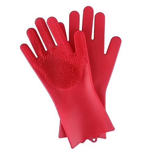 BEAUTLOHAS. Silikon Handschuhe mit wash Scrubber BPA-Frei umweltfreundlich Waschhandschuh Hitzebeständige Spülhandschuhe Reinigungsbürste...