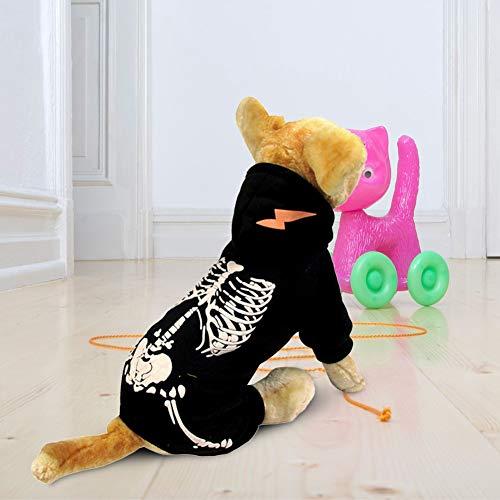 Disfraz De Calavera De Dinosaurio Luminoso Fresco para Mascotas Abrigo De Halloween Ropa Ropa De Polister Negro para Perros Gatos S 0304