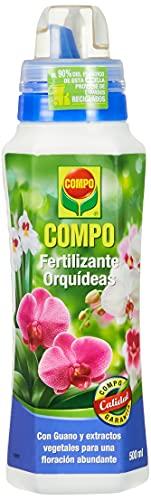 COMPO Fertilizante para orquídeas, Para plantas sensibles, Con guano y extractos vegetales, 500 ml
