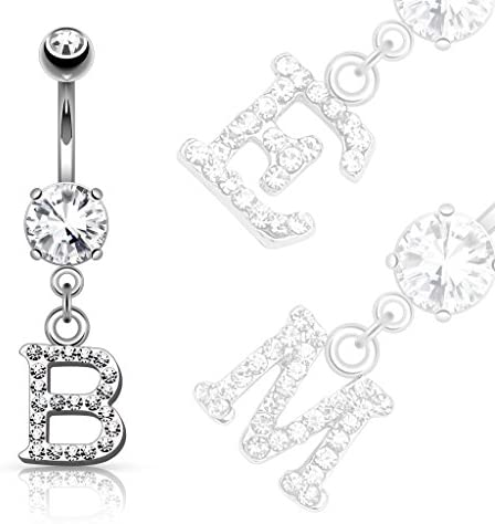 Covet Jewelry Clear Gem Paved Initial Dangle Navel Ring J product image
