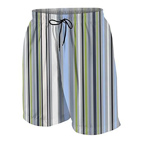 Uomo Pantaloncini da Surf,Colorato astratto a strisce luminose a strisce piastrellabile bianco blu grigio verde nero colori bande,Costume da Bagno Sportivo Abbigliamento da Spiaggia Fodera in Rete