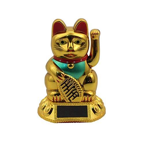 Superfreak Glückskatze - Maneki-Neko - Winkekatze Solar - runder Sockel - 8 cm - Gold