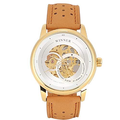 GJHBFUK Reloj de Hombre Moda Hombre Dial Redondo Hueco A Prueba De Agua Reloj Automático Reloj Mecánico Amarillo Correa De Cuero Marrón