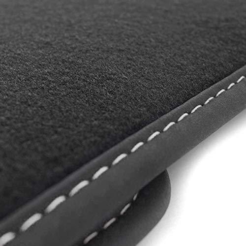 Kofferraummatte für 3er Reihe E46 Touring mit Navi ab 04.98 Autoteppich Kofferrraum Tuning Velours schwarz Ziernaht weiß
