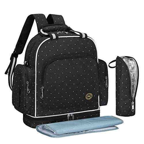 QIMIAOBABY Diaper Bag Smart Organizer Waterproof Travel Diaper Backpack Handbag with Changing Pad (Black dots)