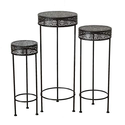 Supporto per piante in ferro, marrone scuro, set da 3 pezzi, 75, 65 e 55 cm, supporto per vasi per fiori, sgabello, tavolino in metallo rotondo