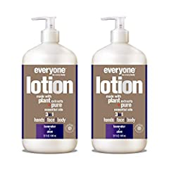 Contains 2 - 32 Fl Oz bottles Relaxing lavender is blended with refreshing aloe pure essential oil in this skin-nourishing lotion that works on hands, face, and body Made with skin-loving organic plant extracts like coconut and sesame oils, vegetable...