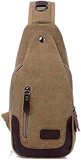 DIEBELLAU Canvas Bag Chest Bag Female Fashion Shoulder Bag Outdoor Leisure Small Bag (Color : Khaki)