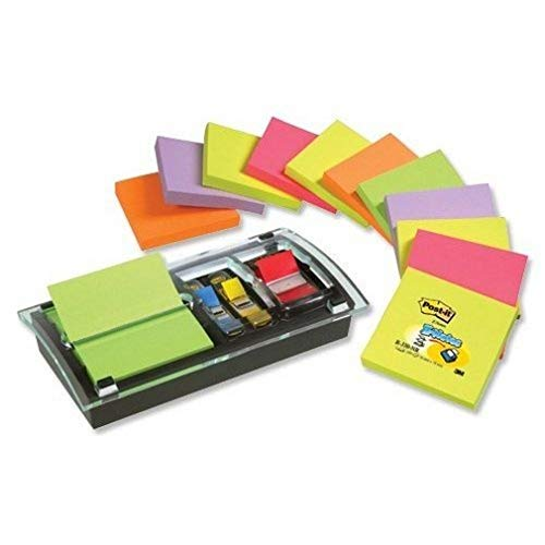 Post-It DS-100VP - Dispensador de notas, diseño combi, con 1 paquete de notas, color negro/ transparente
