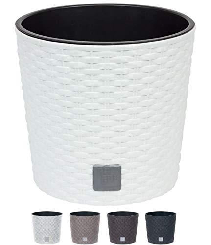 MultiProject HappyFlower Blumentopf Pflanzkübel inkl. Einsatz rund Rattan-Optik 4 Größen 4 Farben Übertöpfe (400, Weiß)