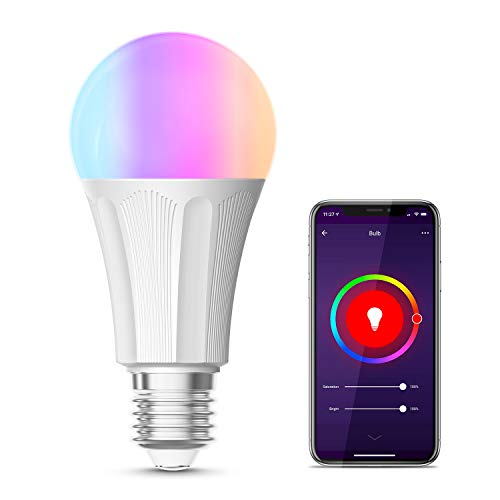 Lampadina Wifi Smart, Maxcio Lampadina Led Dimmerabile, Colorata [ E27 9W RGB+W],Funzione Timer,Più Luminoso, Compatibile con Amazon Alexa e Google Home [Classe di efficienza energetica A]-1 pack