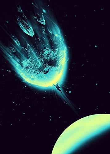 XUSG Meteoriten-Wandkunst für Wohnzimmer und Schlafzimmer, Dekoration auf Leinwand, Wandkunst, Gemälde ohne Rahmen und mit Rahmen, 30,5 x 45,7 cm, rahmenlos