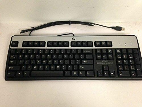 Genuine HP Hewlett-Packard KU-0316 Black/Silver USB Wired 104-Key Layout Keyboard Part Number: 434821-001 Model Number: KU-0316