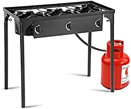 Giantex Single/Double/ 3 Burner Outdoor Stand Stove Cooker Camping Cooking Stove with/Without Adjustable Legs 100,000-BTU, 200,000-BTU, 225,000-BTU