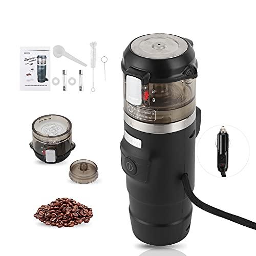 Juego de cafetera portátil, máquina de café para coche con encendedor de cigarrillos de 12 V, máquina de café exprés portátil para viajes, coche, hogar