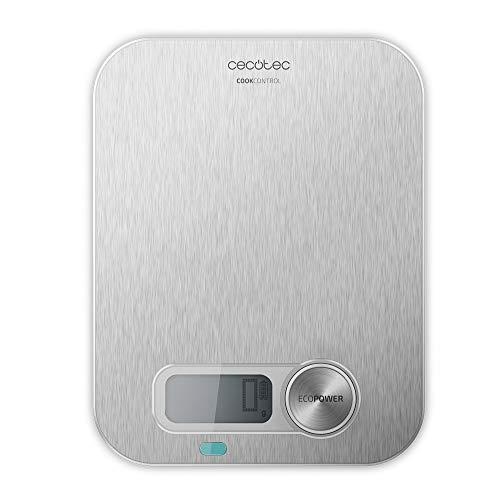 Cecotec Báscula de Cocina Cook Control 10200 EcoPower INOX. Sin Pilas, Precisión de 1 gr, Pantalla LCD, Función Tara, Función sólidos y líquidos