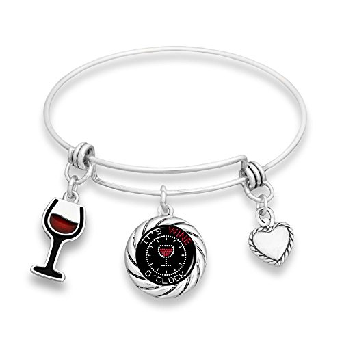 Lola Bella Gifts Wine Lover Wine O'clock Memory Wire Bangle Bracelet with Gift Box