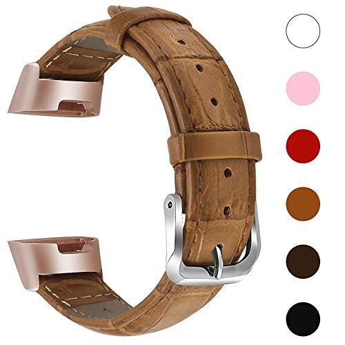 Reety kompatibel für Fitbit Charge 3 Strap, elegantes klassisches Krokodil-Ersatzarmband aus echtem Leder mit rostfreiem Metallverbinder für Fitbit Charge 3 & Charge 3 SE für Damen Mädchen (Hellbraun)