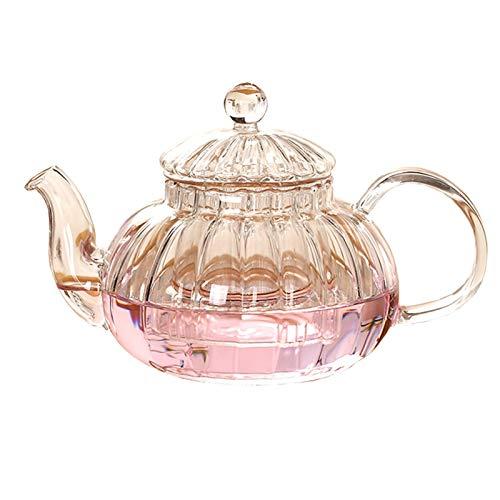 Tetera 600 ml de rayas forma de flor de calabaza tetera de cristal a prueba de calor de la maceta la taza de té Tetera de cristal con Infusor de té herbario hoja