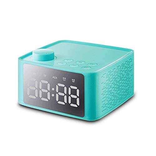 CMmin luidspreker, smart alarm met bluetooth luidspreker met standaard dubbele wekkerradio voor thuistelevisie, pc, hoofdtelefoon, luidspreker stereo-installatie (kleur: roze), groen
