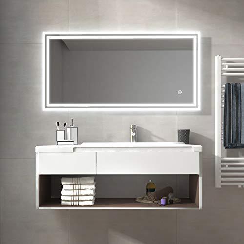 Duschdeluxe Badspiegel Lichtspiegel 120 x 60 cm LED Spiegel Wandspiegel nergieeffizienzklasse A ++ mit Beleuchtung kaltweiß Lichtspiegel mit Touchschalter