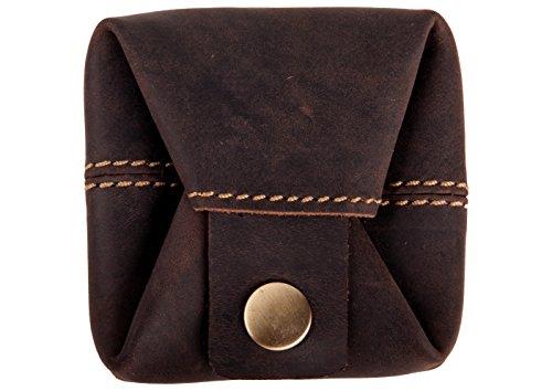 ANDERS Mini monedero de diseño alemán de cuero marrón retro vintage