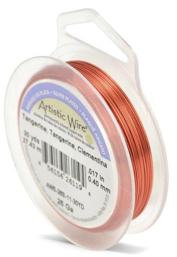 Artistic Wire Beadalon Fil de cuivre Calibre 26 27,43 m Câble plaqué Argent, Mandarine
