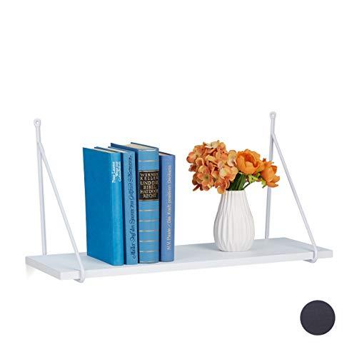 Relaxdays Wandregal, für Wohnzimmer & Flur, modernes Design, Wandboard für Bücher & Deko, HBT: 30 x 60 x 22 cm, weiß