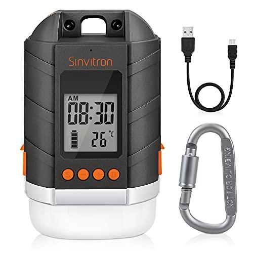 Sinvitron Wiederaufladbare LED Camping Laterne & 15000mAh Power Bank mit LCD Bildschirm, dimmbarem Zeltlicht/Taschenlampe, 4 Lichtmodi,...
