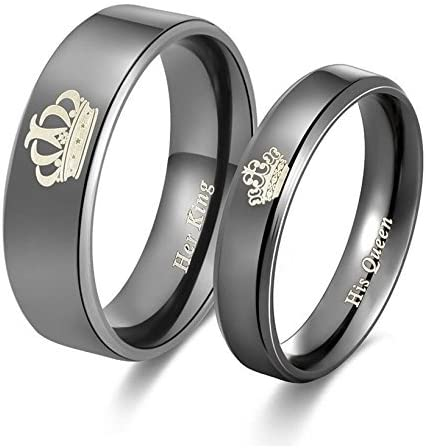 Yellow Chimes His or Hers Matching Set His Queen Her King Titanium Stainless Steel Couple Bracelet Rings for Girls & ...