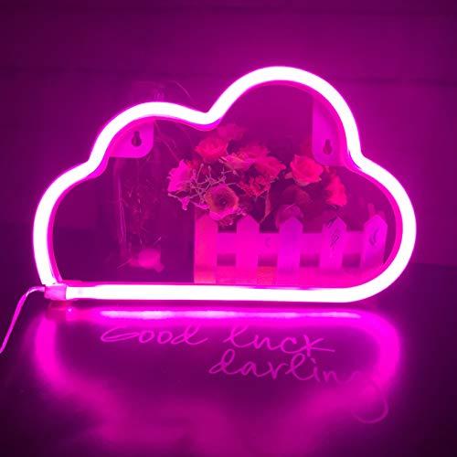 Carino Neon Light, Luce LED a Forma di Cloud Sign Decor Light, Marquee Signs/Decorazione da Parete per Natale, Feste di Compleanno, Camera dei Bambini, Soggiorno, Wedding Party Decor (rosa)