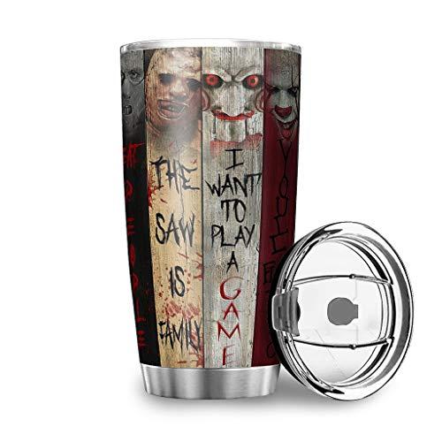Dessionop Botella de agua Tumbler para Halloween, película de terror, con citas impresas, taza de viaje, 20 onzas, antigoteo, tapa de color blanco, 600 ml