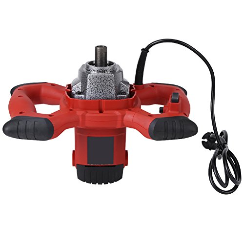 Mezclador de mortero eléctrico ergonómico, mezclador eléctrico de mano de 6 velocidades de 1500 W para agitar pintura de mortero lechada de cemento 220 V ~ 50 60 HZ rojo