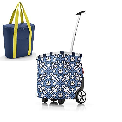 Ensemble sac de courses composé d'un chariot de courses Reisenthel carrycruiser/chariot de courses et sac isotherme Reisenthel dans des designs tendance (floral 1).