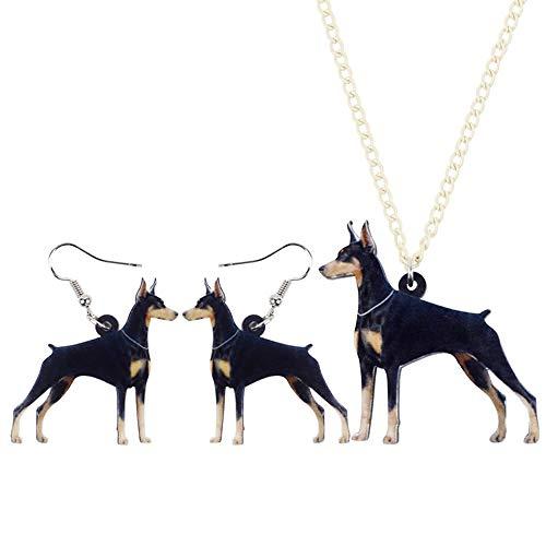 XQAQW Acrílico Juego de Joyas Collar Pendientes Elegante Perro Collar Animal para Las Mujeres niñas Amante de los Animales Regalo encantos-Multicolor