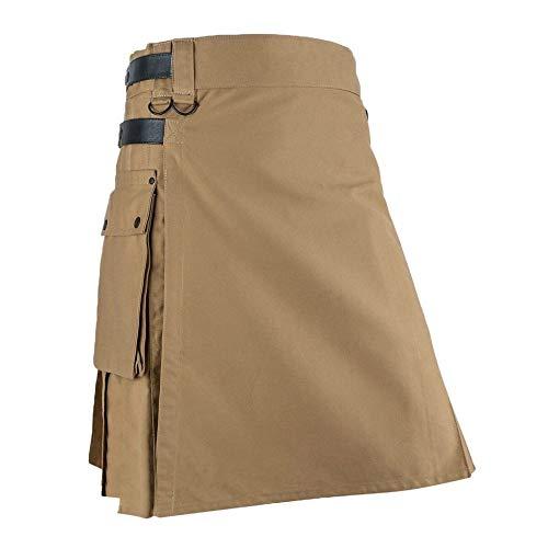 HOSDMens Vintage Kilt Scotland Gothic Kendo Pocket Faldas Ropa Escocesa Falda Plisada Pantalones