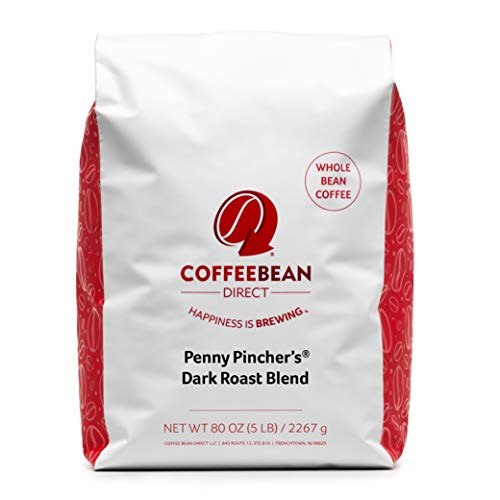 Coffee Bean Direct Penny Pincher's Dark Roast Blend, Whole Bean, 5 Pound Bag